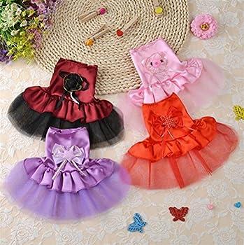 Jeephuer Belle Conception Vêtements pour Animaux de Compagnie Robe de Mariée Tutu Chaton Chiot Chien Vêtements Rose XXS
