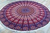 Guru-Shop Rundes Indisches Mandala Tuch, Tagesdecke, Picknickdecke, Stranddecke, Tischdecke - Rot/lila, Baumwolle, Bettüberwurf, Sofa Überwurf