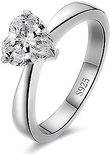 Autiga Edler Verlobungsring mit Stein in Herz-Form, Damen-Ring Solitär-Ring aus 925 Sterling Silber