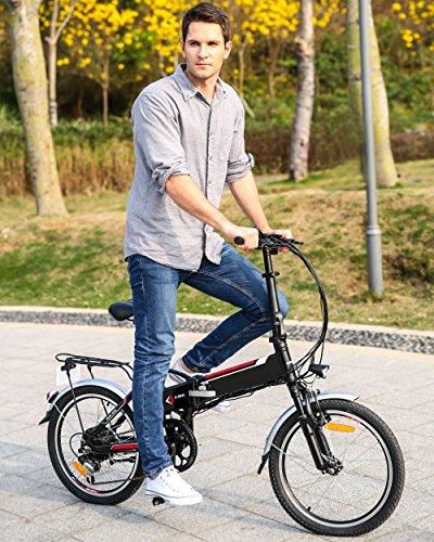 Elektrofahrrad Faltbares E-Bike, 20 Zoll Klapprad mit 250w Heckmotor und or, 36V Große Kapazität Lithium-Akku Schwarz