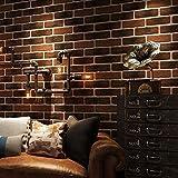 HUANGYAHUI Einfache, Retro, Nostalgisch, 3D, Dreidimensionale Brick, Brick, Tapeten, Restaurant, Graue Bar, Kulturelle Stein, Red Brick Desktop,Braun