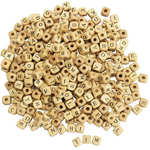 trendmarkt24 Buchstaben-Würfel Natur, 300 Stück aus Holz ca. 10x10 mm ✓ Buchstaben-Perlen mit Lochgröße ca. 4mm ✓ Holz-Perlen/Fädelperlen Perlenwürfel Abgerundete Ecken ✓ Schmuckperlen 32005
