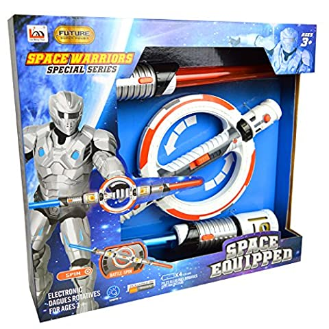 Space Equipped ® Darth Army Wars Spinning Double Star Force Lightsaber Electronic Toy / Costume