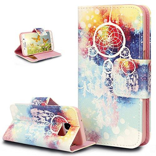 ikasus Coque Galaxy S6 Etui Beaux Art coloré peint papillon Fleur Housse Cuir PU Coque Portefeuille supporter Flip Wallet Case Etui Housse Coque pour Galaxy S6,Campanule plumes colorées