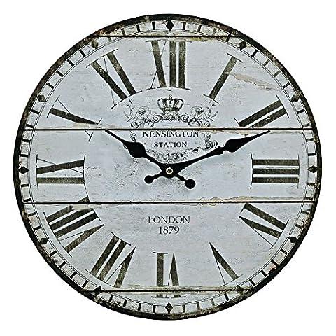 Wanduhr aus Holz London Kensington - 34cm rund römische Ziffern Vintage Nostalgie Shabby Chic Antik Uhr Holzuhr England UK United Kingdom