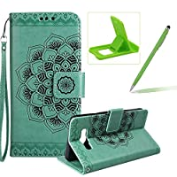Rope Leather Case for Samsung Galaxy J710 2016,Strap Wallet Case for Samsung Galaxy J710 2016,Herzzer Bookstyle Classic Elegant Mandala Flower Pattern Stand Magnetic Smart Leather Case with Soft Inner for Samsung Galaxy J710 2016 + 1 x Free Green Cellphone Kickstand + 1 x Free Green Stylus Pen - Gre