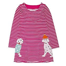 squarex Lovely Baby Girl Cartoon Print Embroidery Stripe Dress Clothes Pyjama Tops