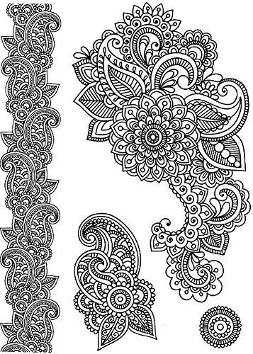 Tatuajes temporales de flores mandalas, para hombre y mujer, tatuaje temporal, para brazos, piernas, pantorrillas, brazos, cuello, 21 x 15 cm