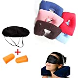 J U ENTERPRISE 3 in 1 Inflatable Neck Air Cushion Pillow, Eye Mask & 2 Ear Plugs (Color May Vary)