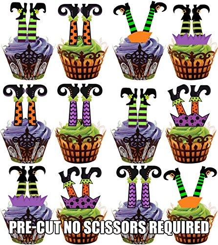 oween Hexenbeine - Essbare Cupcake Topper / Kuchendekorationen (12 Stück) (Scary Halloween-spiele-ideen)