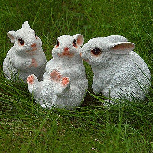 Sammlung Kaffee-tisch-set (Lanlan 1Set von 3Kunstharz Liebenswürdig, weiß Kaninchen Figur Statue Miniatur Garten Outdoor Garten Home Zähler Dekoration)
