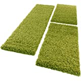 PHC Bettumrandung Läufer Shaggy Hochflor Langflor Teppich in Grün Läuferset 3 Tlg, Grösse:2mal 60x100 1mal 70x250
