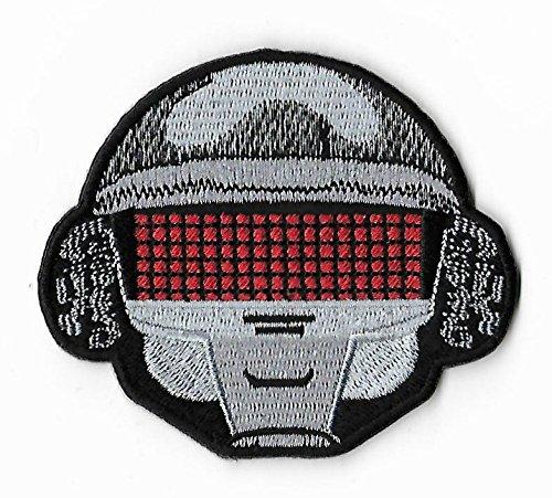 Helm Kostüme Daft Punk (Roboter Helm Patch 8cm bestickt Eisen/Nähen auf Badge DIY Aufnäher Punk)