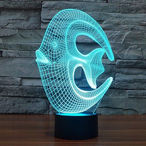 Youzone Magische Panel-3D optische Visualisierung Illusion 7 Farben ändern USB-Touch-Schalter Tischlampe bulbing LED-Licht-Nachtbeleuchtung Hauptdekoration Haushaltsbeleuchtung (Coral Fisch)