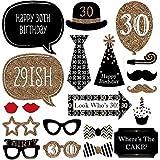 30. Zum 40. Geburtstag, Schnurrbart Funny Party Dekoration Supplies Photo Booth Requisiten Kit -20pcs Mann Frau Stil DIY Schwarz und Gold Requisiten auf einen Stick für Ihre Geburtstag 30th Birthday