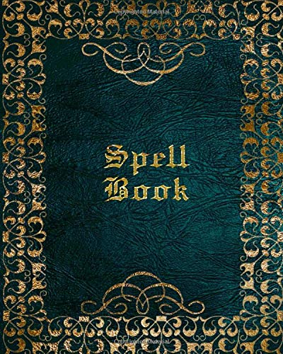 Spell Book: Grimoire for Recording Magick Rituals, Spells, Esbat Celebrations and More | Blue Gold Print (Crystal Blue Halloween)