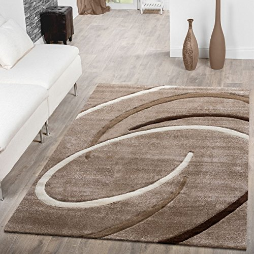 T&T Design Tappeto A Pelo Corto Per Soggiorno Moderno Ebro Con Motivo A Spirali Beige Marrone Mocca, Größe:80x150 cm