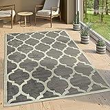 Paco Home Designer Teppich Marokkanisches Muster Kurzflorteppich Modern Trend Grau Weiß, Grösse:80x150 cm