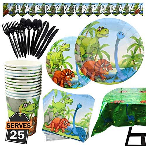 Kompanion 177-teiliges Dinosaurier Party Set mit Banner, Tellern, Tassen, Servietten, Tischtüchern, Löffel, Gabeln und Messern für 25 Personen