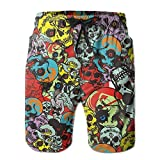 chenwenyanouzhou Men's Boardshorts Color Skull Quick Dry Board Shorts Beach Shorts Swimwear Swim Trunks Surfing Suit Large