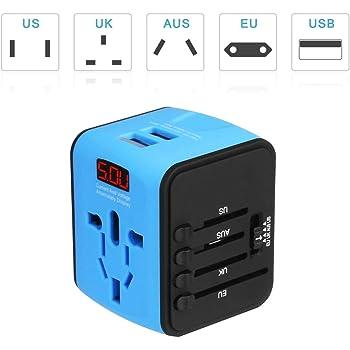 Adaptador Enchufe inglés Viaje con LED patalla Adaptador Internacional Universal Más de 150 países en todo el mundo para US / EU / UK / AUS / EE.UU.