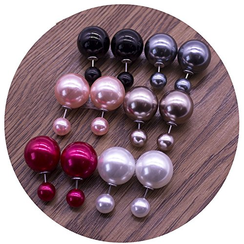Boucles D'Oreilles - Double Boule Brillantes - Lot de 6 - Multicolore