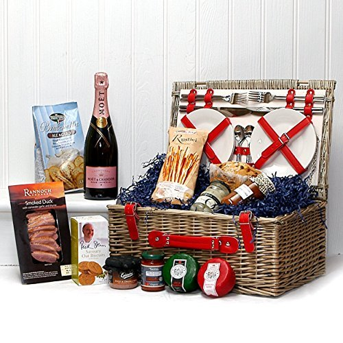 Moet et Chandon Rose Champagne and Gourmet Food in a Retro Faux Leather 4 Person Wicker Picnic Hamper Basket with Accessories - Gift for Valentines, Mother's Day, Birthday, Wedding, Anniversary, Business and Corporate