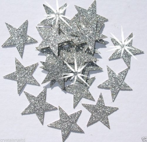 Silver 48 Fabric Glitter 25mm Star Iron-On by CrystalsRus