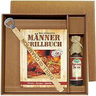 Andrea Verlag Männer Grill Profi Set's Männer Grillbuch Männergrillbuch (Männer Grillbuch im Geschenke Set mit EIN Mann EIN Grill Grillzange und Worchester Sauce 25020)