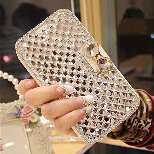 Kompatibel mit iPhone 4S/4 Hülle,Luxus 3D Bling Crystal Glänzend Glitzer Kristall Strass Diamanten PU Lederhülle Flip Hülle Handyhülle Ständer Tasche Wallet Case Schutzhülle für iPhone 4S / 4,Weiß Pink Crystal Bling