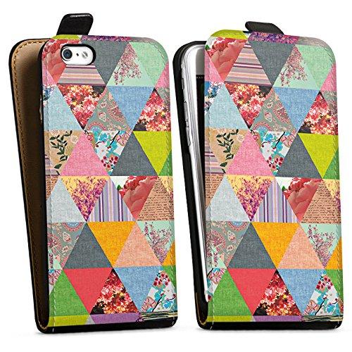 Apple iPhone X Silikon Hülle Case Schutzhülle Triangles Muster Dreiecke Downflip Tasche schwarz
