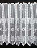 Scheibengardine mit Blumen und Karos 75 cm Hoch | Breite der Gardine durch gekaufte Menge in 14 cm Schritten wählbar (Anfertigung Nach Maß) | Weiß | Vorhang Küche Wohnzimmer