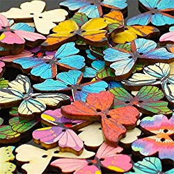 Generic 50PCS 2 Holes Mixed Butterfly Wooden Buttons Sewing Scrapbooking DIY Random color quality first