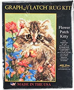 """Latch Hook Kit 33""""X30""""-Flower Patch Kitty (Pack of 1 )"""