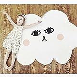 ELLANM Wolke Smiley Muster Spiel Pad Baby Crawl Komfort Kissen, Cartoon-Stil Baby Spielmatte Für Boden Reversible Dicke 100% Weiche Baumwolle 37,4 Zoll Spielmatte Für Kinder
