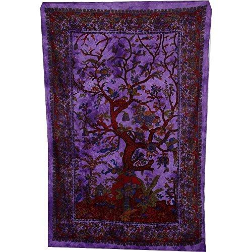 Wandteppich / Überwurf für Sofa / Einzelbett, Motiv: Baum des Lebens, Grün / Rot / Orange / Blau / Weiß violett (Wandteppiche Wandteppiche Rot)