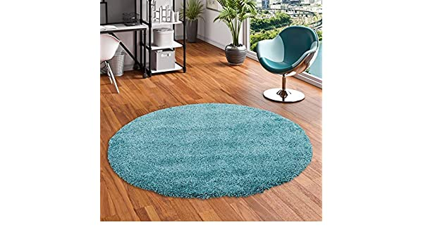 4 Tailles Disponibles interiortrend Mona Bleu Clair Tapis /à Poils Longs Rond Velours