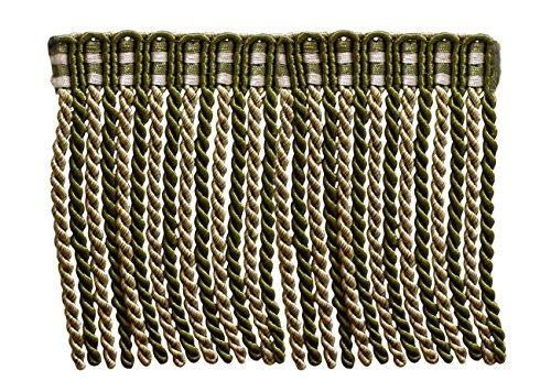 4,9 m Lot de 15,2 cm de long lingot Frange tailler, style # DB6 – Vert Olive, Doré clair, Blanc – Olive Garden 010 (4,9 m/5 metres)