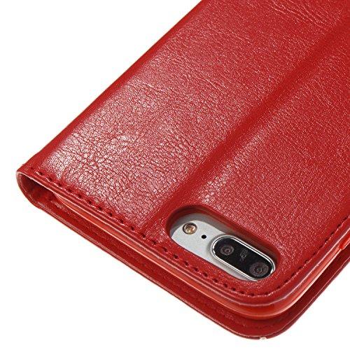 iPhone 8 Plus Hülle, STENES Stilvoll Serie Kartenfach Standfunktion Magnet Ledertasche Wallet TPU Stoßfänger Schutzhülle für iPhone 7 Plus / iPhone 8 Plus - Schmetterlingsblumen / Rosa Schmetterlingsblumen / Rot