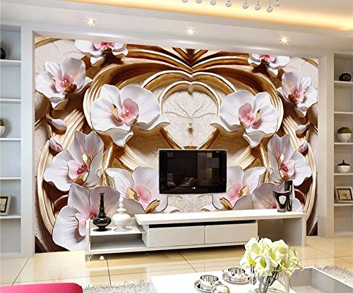 WH-PORP Custom tapete 3D Floral Relief Tv Background Wall Butterfly Ornament-300cmX210cm