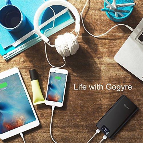 Gogyre 21200mAh Power Bank Externer Akku Tragbar Ladegerät hohe Kapazität 2-Ausgang USB Powerbank mit Boston Batteriezellen und LCD Display für iPhone iPad Samsung S4 S5 S6 S7 Edge Tablets - Schwarz - 7