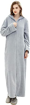ZFSOCK Womens Long Dressing Gown Nightwear Zip Up Hooded Bathrobe Ladies Fluffy Fleece Full Length Robe Soft Loungewear Birthday Presents Oversize for Pregnant Woman