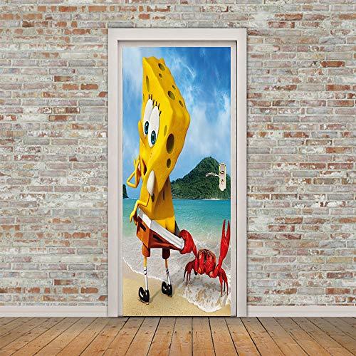 NBLYZT Türaufkleber Spongebob Wasserdicht 3D Kreative Selbstklebende Kinderzimmer Dekoration Schlafzimmer Wohnzimmer Wandaufkleber 77 * 200cm