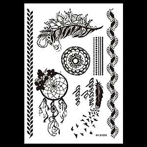 traumf nger feder mandala tattoo schwarz fake tattoo einmal tattoo schmuck tattoo orient tattoo. Black Bedroom Furniture Sets. Home Design Ideas