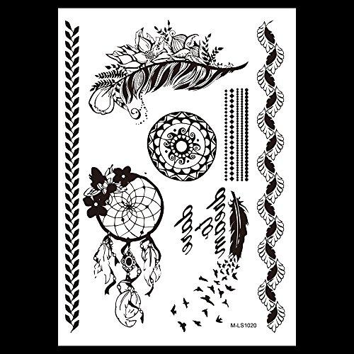 MANDALA HENNA NOIR tatouages temporaires au henné Henna pour le corps m1020