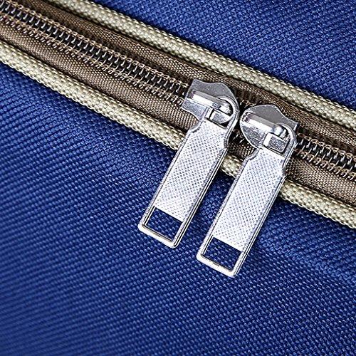 BXT Große Hochwertige Handgepäck Reisetasche Umhängetasche aus Wasserdichte Oxford Tuch Sporttasche Flugzeug Tasche für weekender Damen und Herren Gepäck Gym Sports bis 65 Liter(Dunkelblau/Schwarz) Dunkelblau
