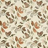 Fabulous Fabrics Leinenstoff Blätter – Braun — Meterware ab 0,5m — Zum Nähen von Blusen, Hemden und Hosen