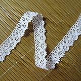 Gehäkeltes Baumwoll-Band mit Spitzenbesatz, weiß, 4,5 m x 2,5cm, Vintage-Borte, bestickte Applikation für Hochzeitskleid, Verzierungen, Karten