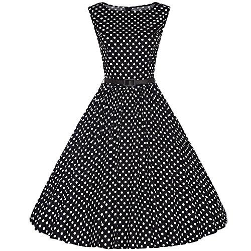 Vintage 1950's Audrey Hepburn Style Femme Rockabilly Swing Pin-up Polka Dots Robe De Soirée Rétro Cocktail À Pois Avec Ceinture Noir