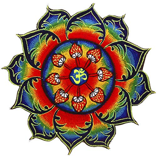 ImZauberwald AUM Aufnäher (Schwarzlicht aktive Handarbeit) OM Patch Design, Applikation zum Aufnähen oder als Dekoration, UV Goa Stickerei Kosmische Musik Mandala Kunst, L, Zauberpilz Aum